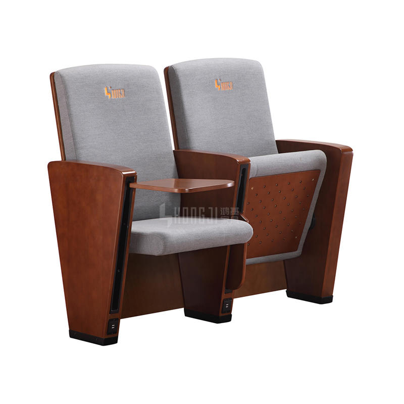 Hall Lecture hall 3d auditorium hall chair in wooden material wooden chair with USB connection HJ8005A