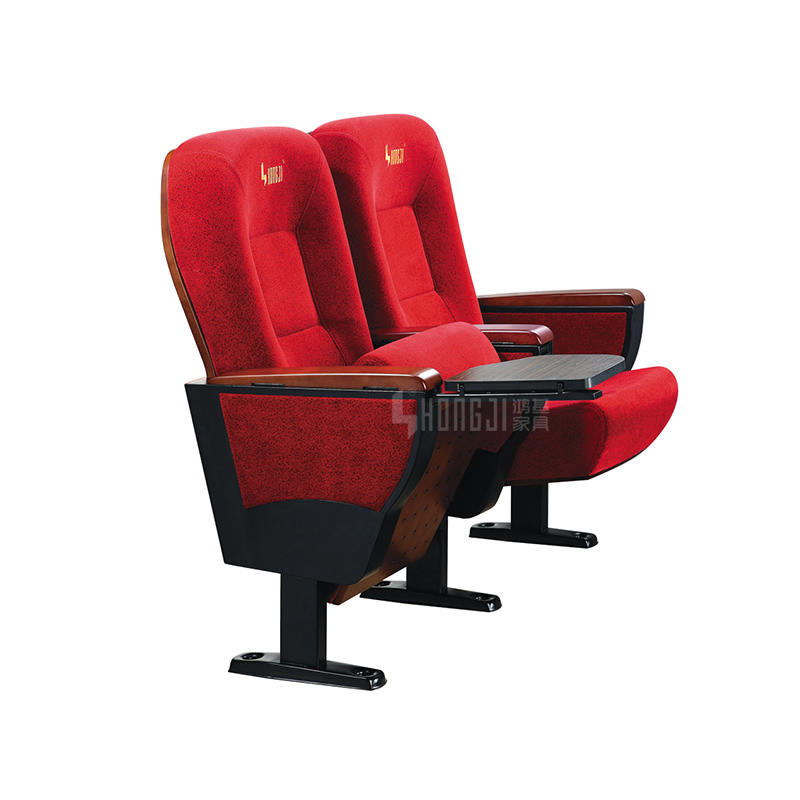 Foldable Upholstered Pads Theater Seating Chair Auditorium With Writing Tablet HJ9105