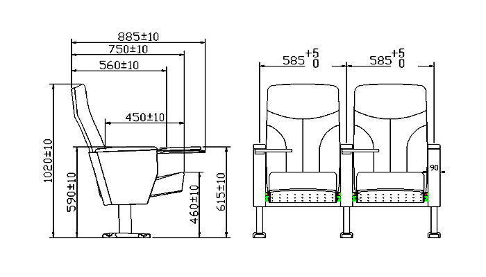 HONGJI high-end theater chair dimensions factory for office furniture-1