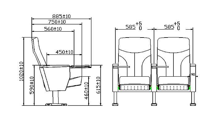 HONGJI plastic 4 seat theater seating usb office