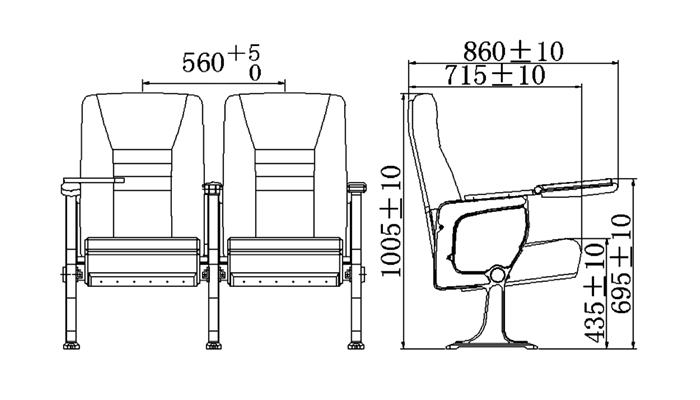 HONGJI outstanding durability 4 piece theater seating supplier for cinema-1