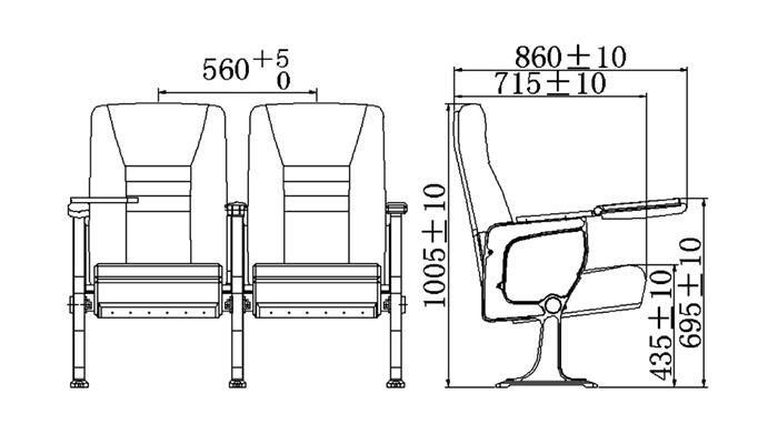 HONGJI outstanding durability 4 piece theater seating supplier for cinema
