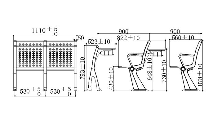 HONGJI ISO14001 certified school desk chair combo manufacturer fpr classroom-1