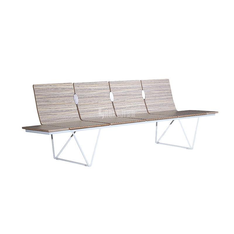 hot sale Curve plywood waiting chair airport chair public seating  for European design H63B-4T