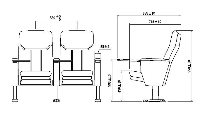 HONGJI 4 chair theater seating factory for office furniture-1
