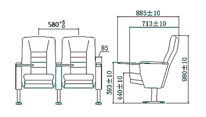 HONGJI newly style black leather theater seats supplier for sale-1