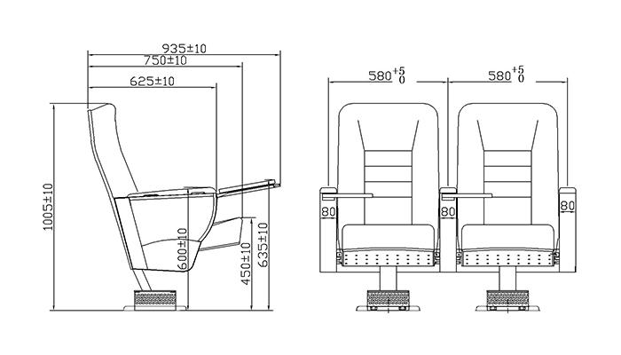 HONGJI 2 seat theater seating manufacturer for office furniture-1
