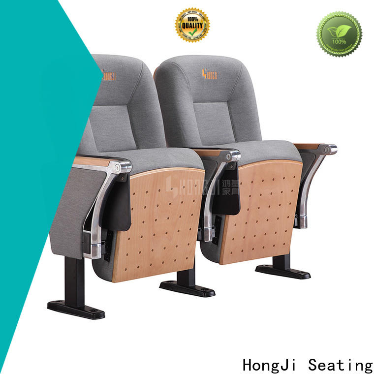 HONGJI newly style real leather theater seating factory for sale