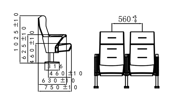 5 seat theater seating manufacturer for university classroom-1