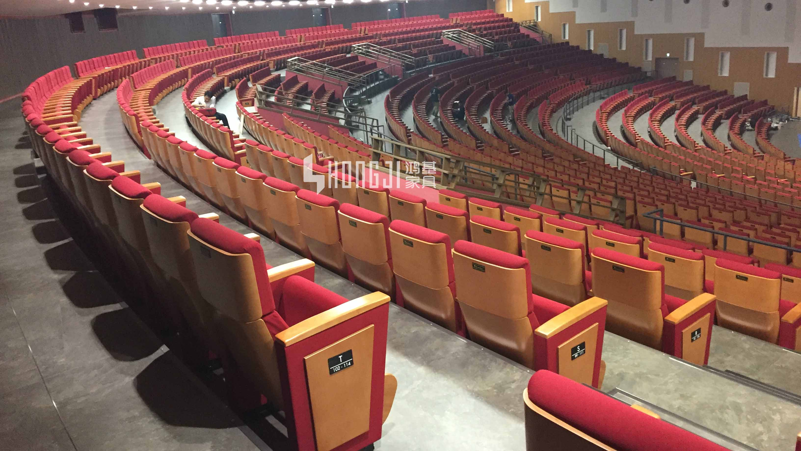 HONGJI real leather theater seating manufacturer for student-13