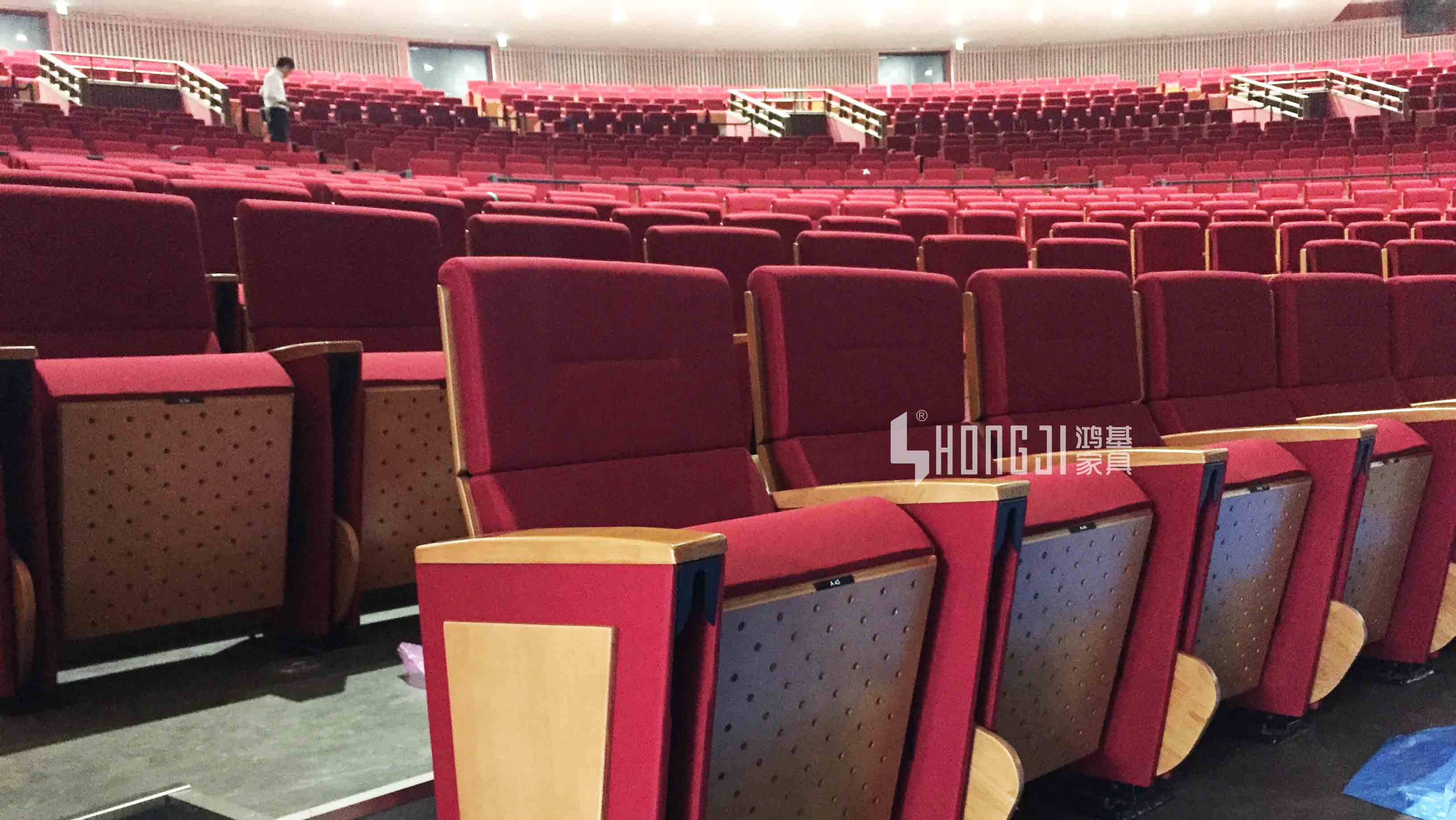 HONGJI real leather theater seating manufacturer for student-14