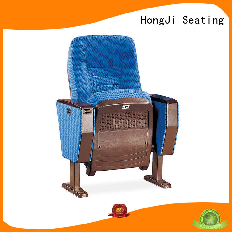 HONGJI newly style black leather theater seats supplier for sale